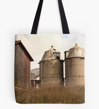 Two Old Silos Talking About the Barn Tote Bag