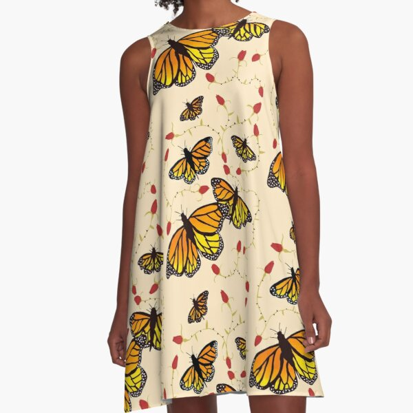 Butterflies and Roses  A-Line Dress