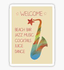 Beach bar jazz poster Sticker