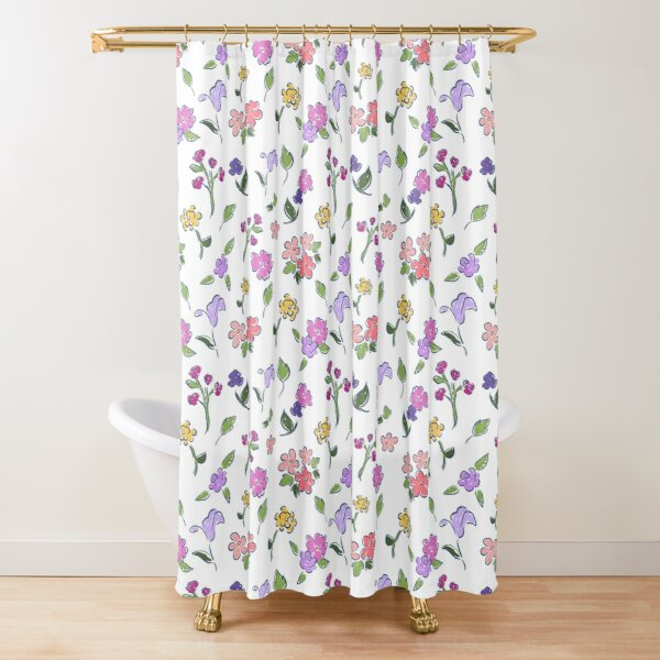Flowers Dancing for Spring on White by Tea with Xanthe Shower Curtain