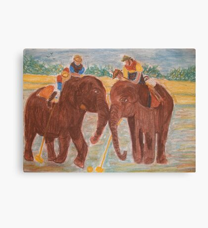 Elephant Polo Match Canvas Print