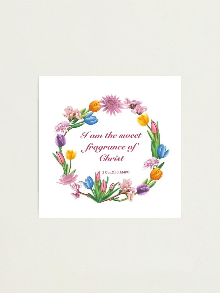 Lámina fotográfica «Corona de flores con verso de la Biblia» de SonjaT |  Redbubble