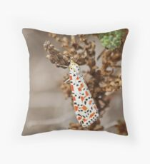 Crimson Speckled Footman Throw Pillow
