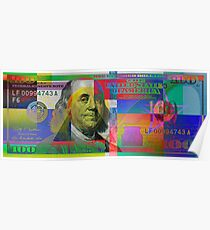 Pop-Art Colorized One Hundred US Dollar Bill Poster