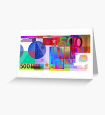 Pop-Art Colorized Five Hundred Euro Bill Greeting Card