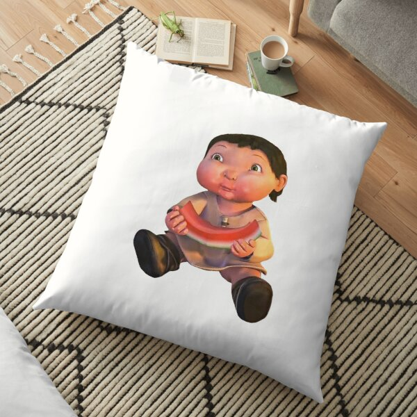 Ice age baby eating watermelon meme Floor Pillow