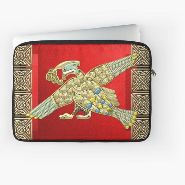 Heiliger keltischer Vogel auf Rotem und Schwarzem Laptoptasche