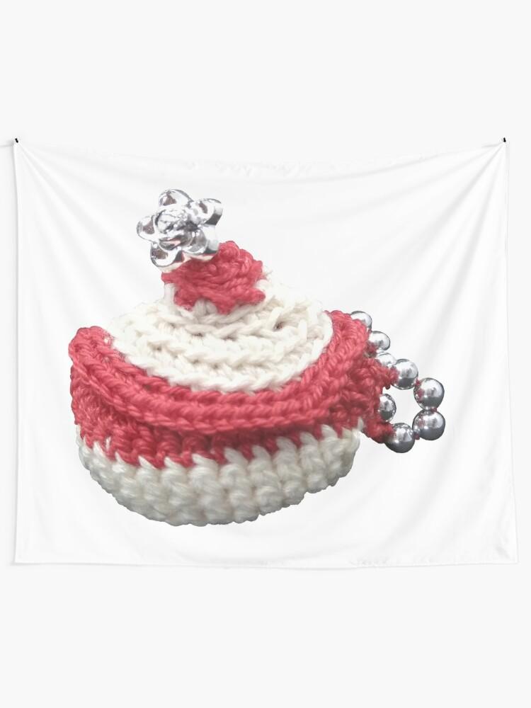 Tentures ''Création en crochet, mini panière à perles, Vata': autre vue