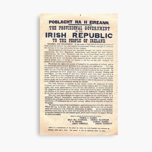 1916 Irish Proclamation Canvas Print