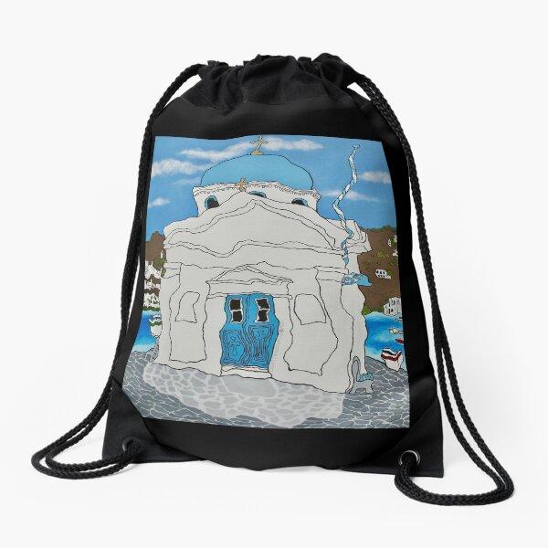 Mykonos Church Drawstring Bag