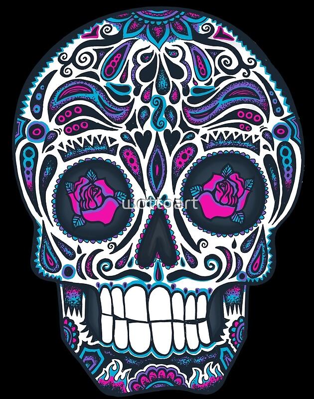 Quot calavera iv sugar skull neon quot by wottoart redbubble