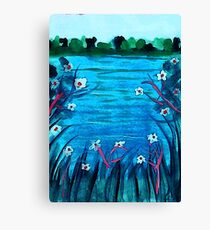 Lovely day on the lake, watercolor Canvas Print