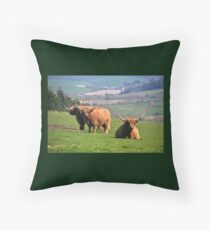 Long Horned Cattle in Cornwall Throw Pillow