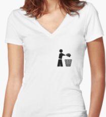 bin your brains pocket Women's Fitted V-Neck T-Shirt