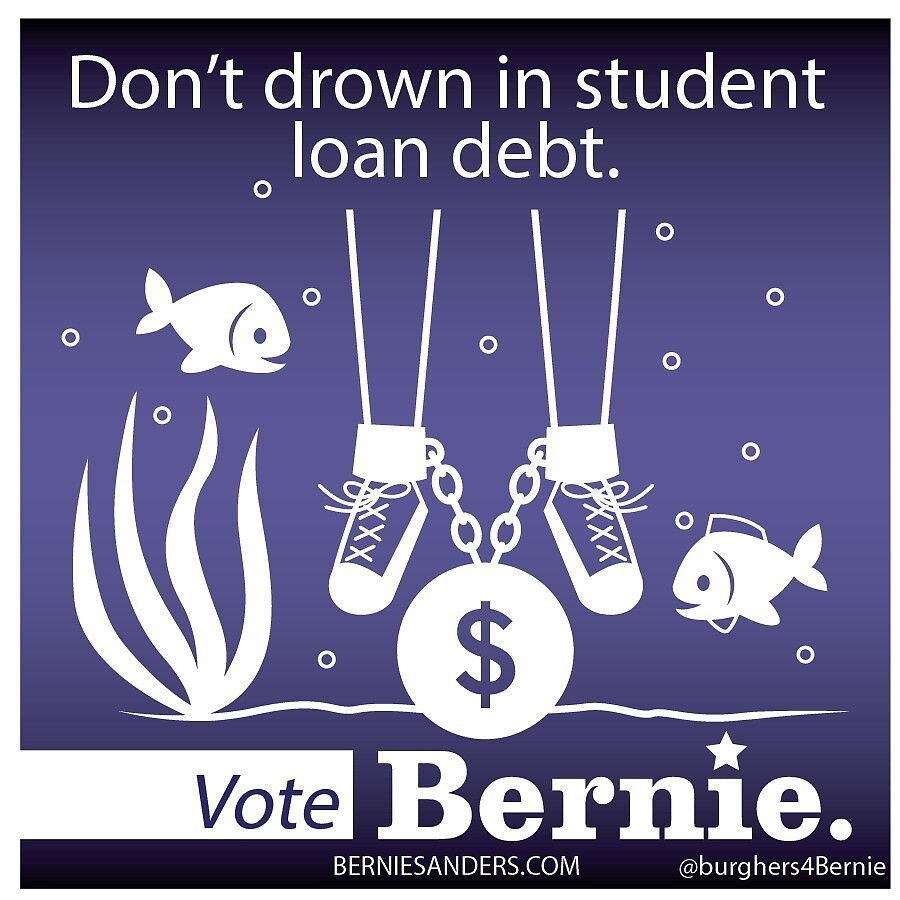 Bernie Halloween Sticker Drowning Student Debt by burghers4bernie