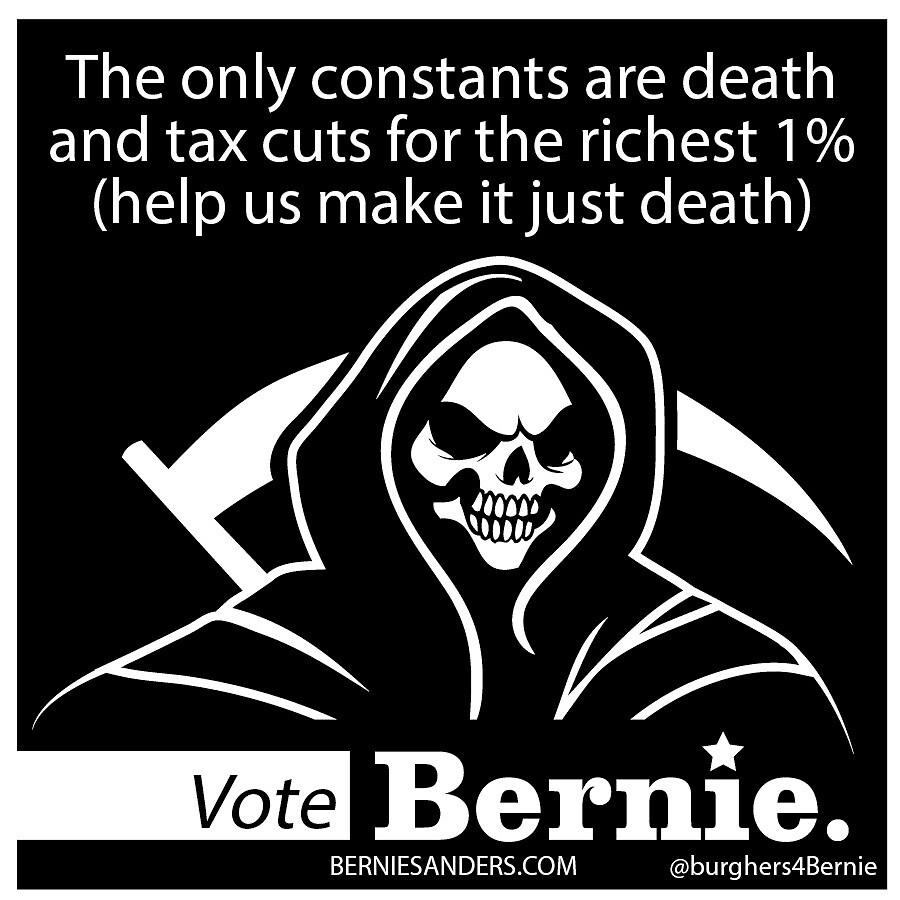 Bernie Halloween Sticker Death and Taxes by burghers4bernie