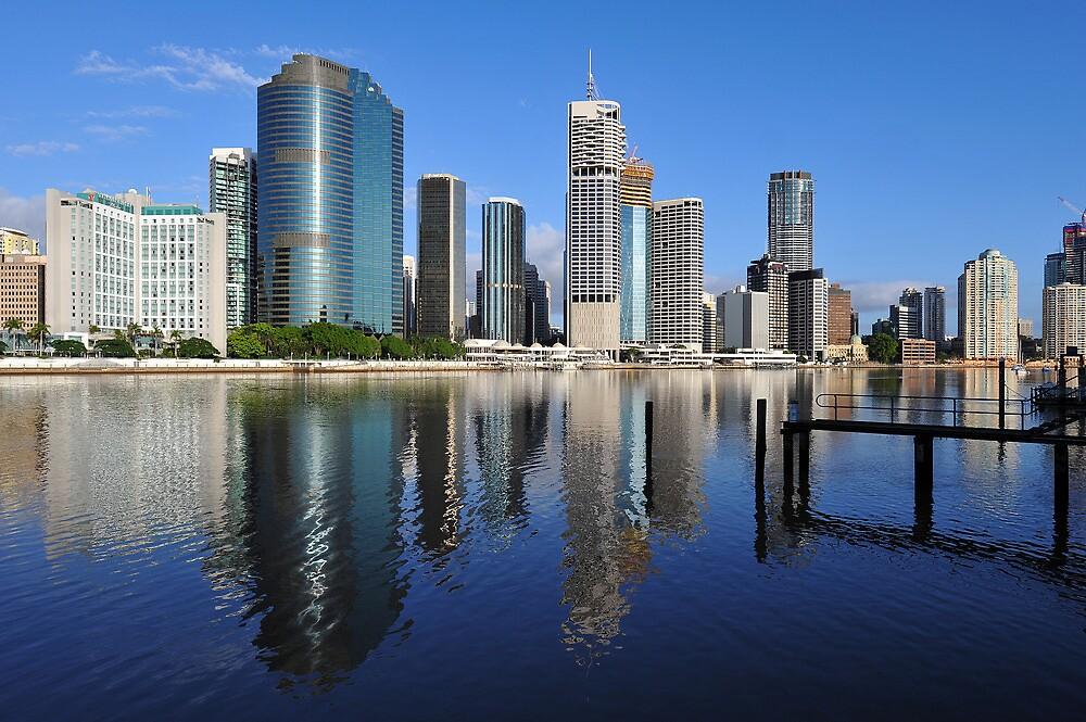 Brisbane River and City at sunrise. Queensland, Australia. (2) by Ralph de Zilva