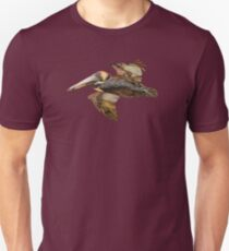 Brown Pelican Flight with Vintage Seafoam Stripe (California Bird) T-Shirt