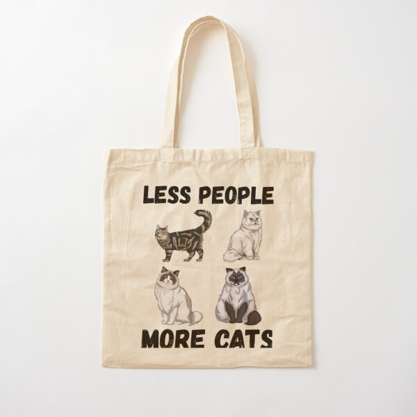 Less People More Cats Cotton Tote Bag