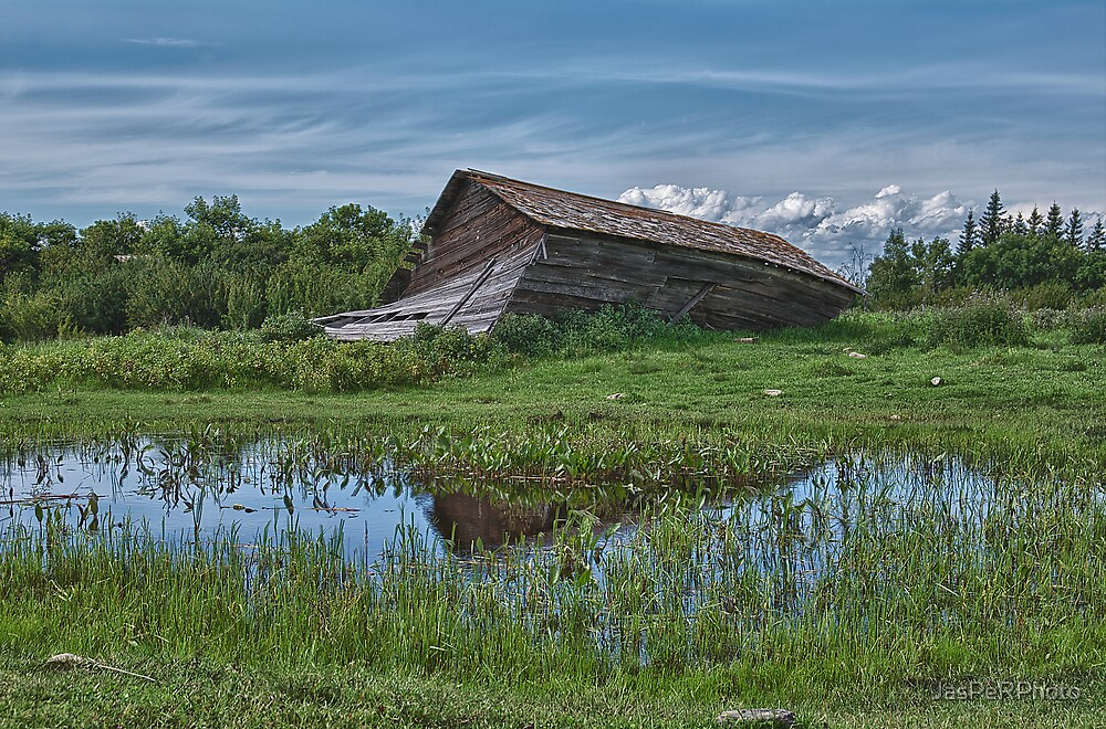 Collapsed Alberta Barn by JasPeRPhoto