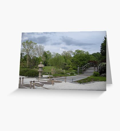 Japanese Designed Garden with Bridge and Sculpture Greeting Card