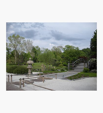Japanese Designed Garden with Bridge and Sculpture Photographic Print