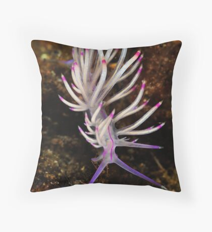 Red Lined Flabellina Throw Pillow