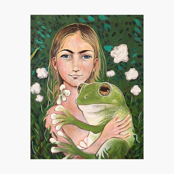 girl and a frog Photographic Print