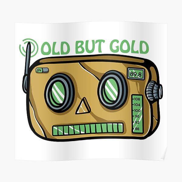 Vintage Robot Radio Designs for Seniors with Humor Poster