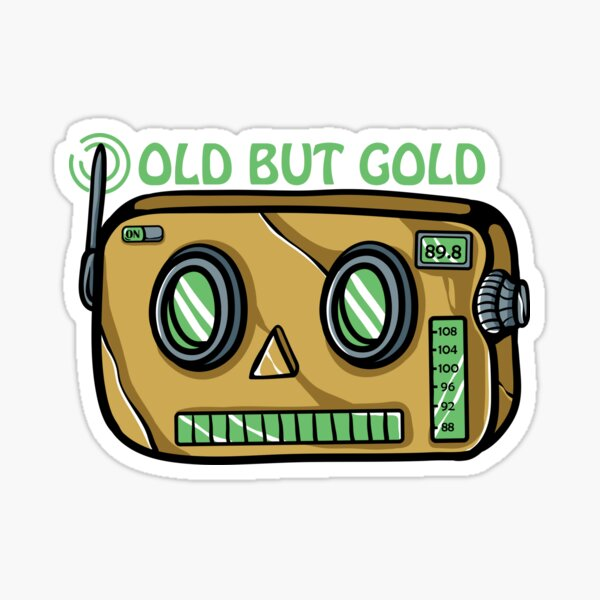 Vintage Robot Radio Designs for Seniors with Humor Sticker