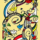 Birds Doodle Case Yellow by rhiannon85