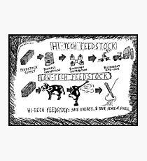 Hi-Tech vs. Low-Tech Feedstock cartoon Photographic Print