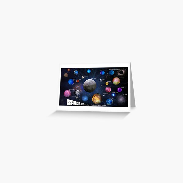 SPACE: 1999 YEAR 1 PLANETS Greeting Card