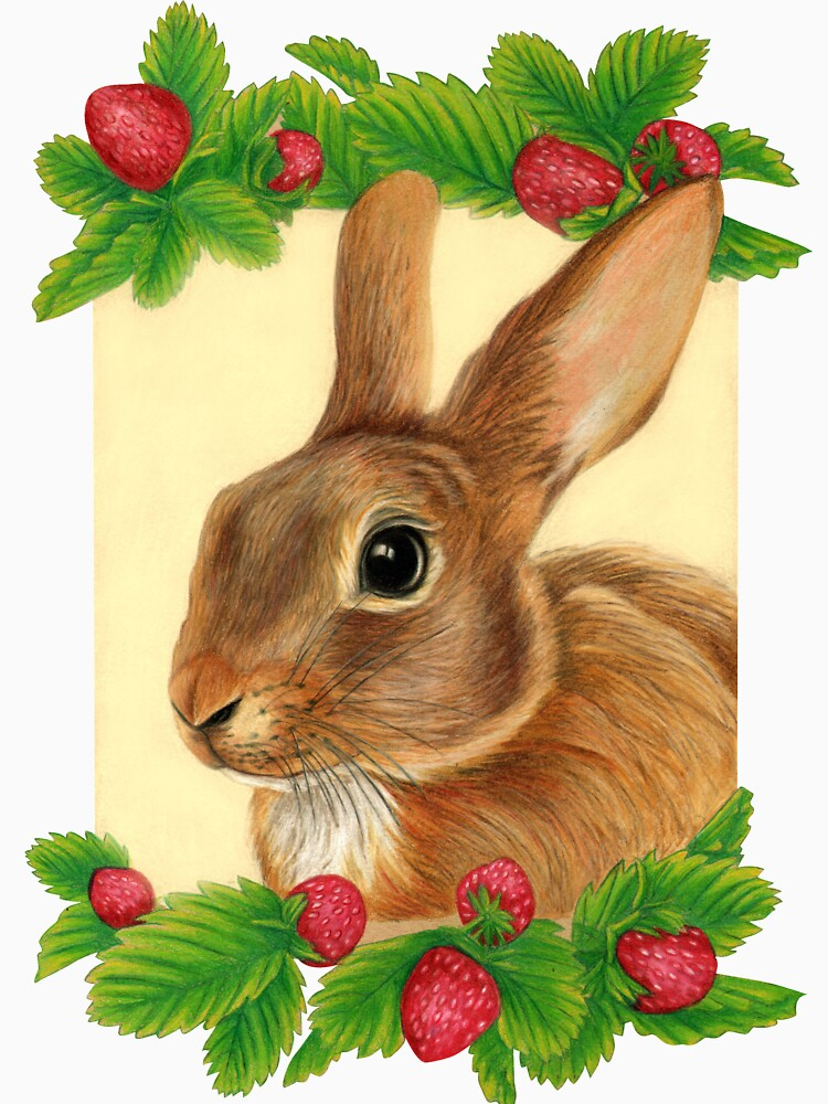 Rabbit with Strawberries by Artist Sherrie Spencer by serrynawolfe