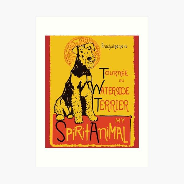 Funny Airedale Waterside Terrier Cute Dog Chat Noir Mashup Art Design Art Print