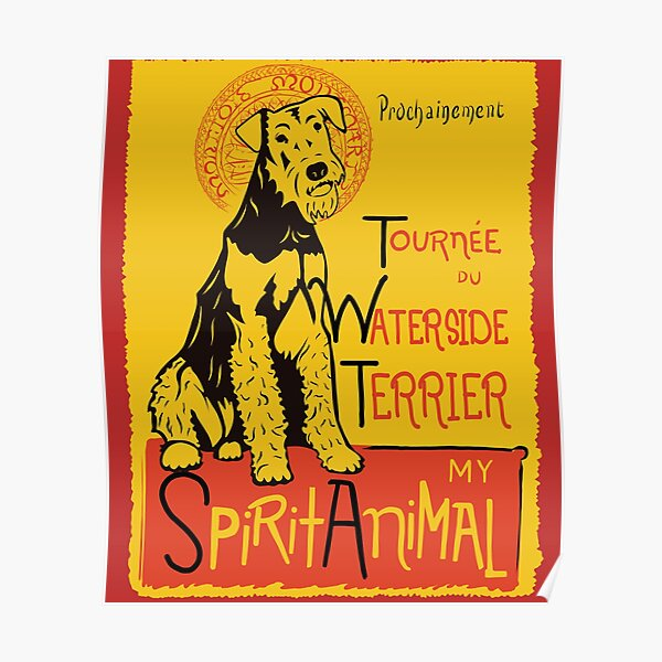 Funny Airedale Waterside Terrier Cute Dog Chat Noir Mashup Art Design Poster