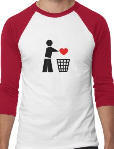 Bin your heart - red heart Men's Baseball ¾ T-Shirt
