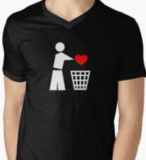 Bin your heart white - red heart Mens V-Neck T-Shirt