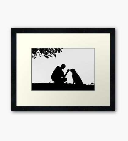 The man and his dog Framed Print