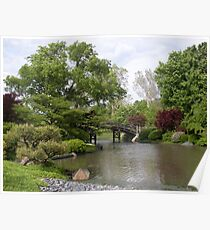 A bridge and trees in the garden Poster