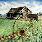 Barn & Wagon Wheel by clotheslineart