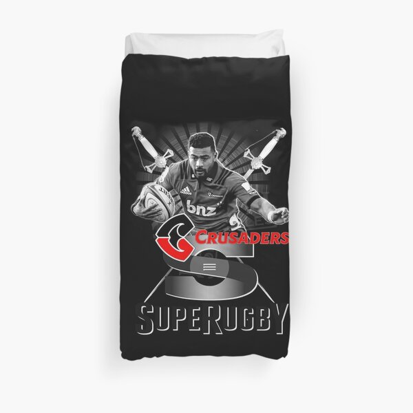 BLACK WHITE RED SUPER RUGBY - NEW ZEALAND ALL BLACKS CRUSADERS SUPERSTAR FLY HALF RICHIE MO'UNGA Duvet Cover