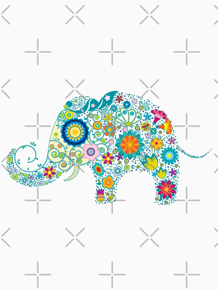 Retro Colorful Floral Elephant Illustration von artonwear