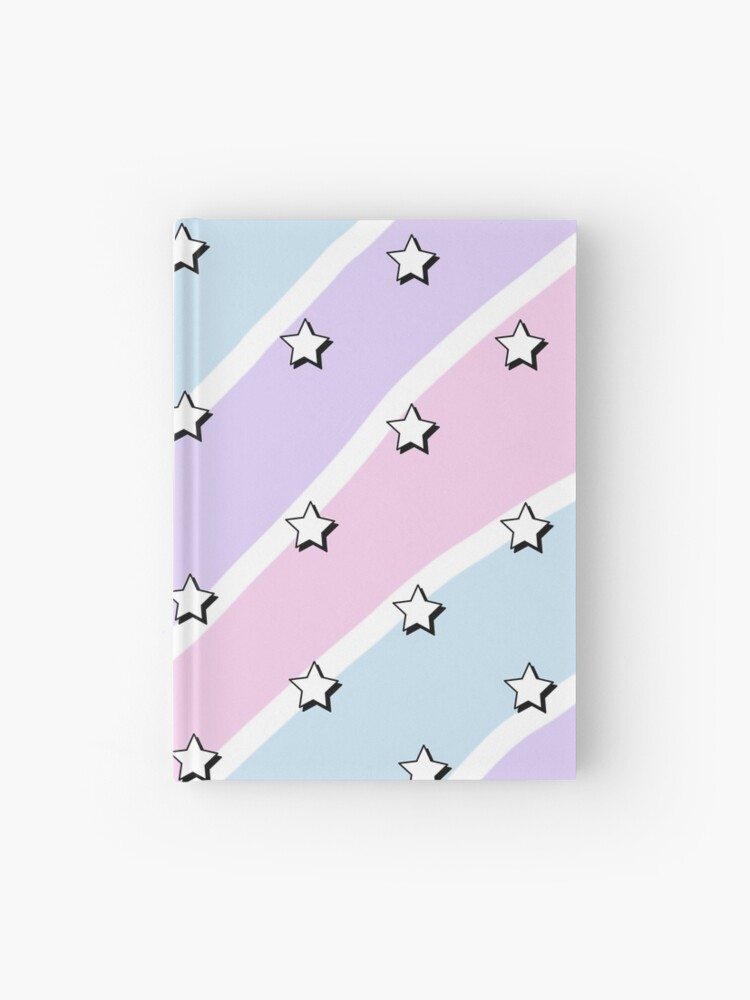 Aesthetic Blue Purple Pink Waves With Stars Wallpaper Hardcover Journal By Pastel Paletted Redbubble