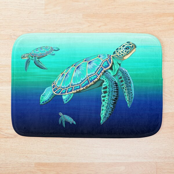 Sea Turtle Turquoise Oceanlife Bath Mat