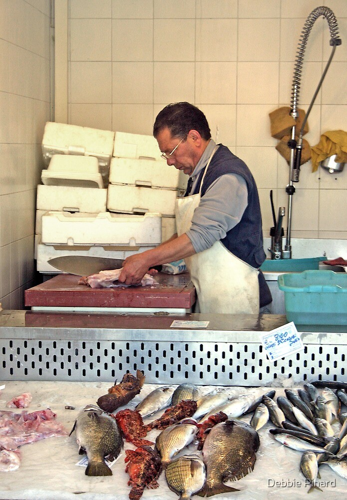 Selling Fish - Gallipoli Italy by Debbie Pinard