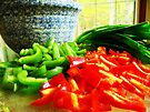 Peppers and Green Onions  by Marcia Rubin
