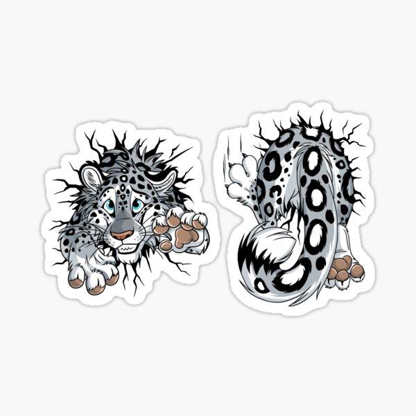 Sticker Front & Back - STUCK Snowleopard (light background) Sticker