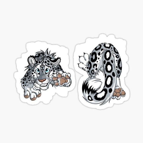Front & Back - STUCK Snow Leopard (white cracks) Sticker