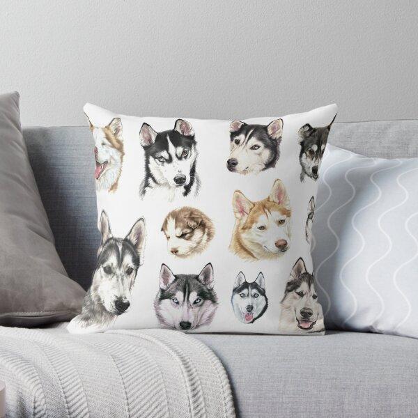 Husky collage Throw Pillow